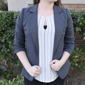 Gray Jersey Blazer with Button Front